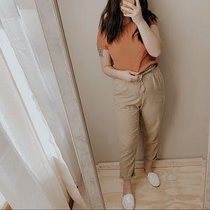 HM rust orange stretchy soft blouse